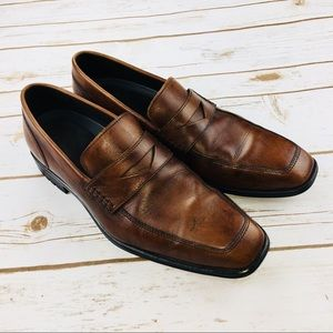 Rockport Brown Leather Slip On Penny Loafers. SH4